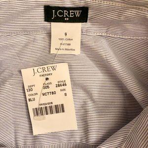J. Crew Factory Tops - NWT Jcrew Oxford Button-Up Blue White Stripe Small